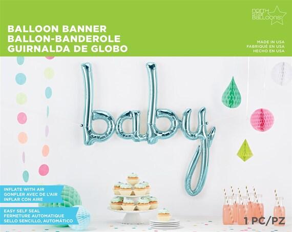 Sale baby blue script cursive balloons balloon letter word for Cursive letter balloons