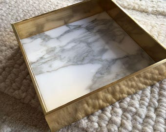 Marble and brass edge tray - Calacatta marble and solid brass - 15 cm x 15cm x 3.8cm