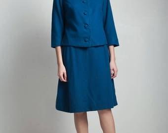 vintage 60s blue skirt suit matching set long sleeve jacket knee length a-line MEDIUM M