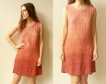 90's Vintage Indian Dusty Pink Ombre Dip Dye Embroidered Mini Dress Size S/M