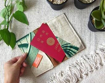 Green Passport Case / Passport Cover African - Ethnic Boho Lime Purple Patchwork