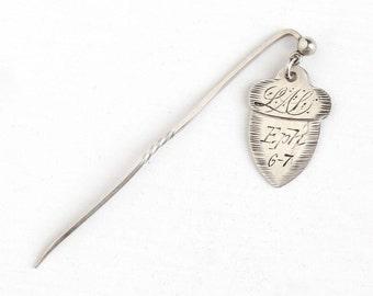 Sale - Antique Victorian Silver Acorn Love Token Charm Stick Pin - Vintage Acorn Pendant Initials Monogram Letters EA LM Eph 6-7 Jewelry Fob