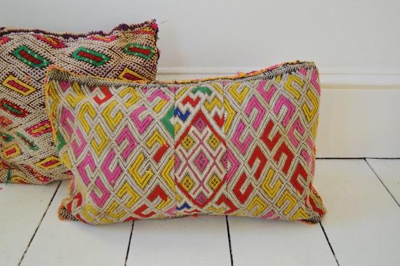 Vintage Moroccan Pink Pattern Kilim Berber Carpet Cushions-lumbar, vintage cushions, christmas gifts0, gifts, No.4
