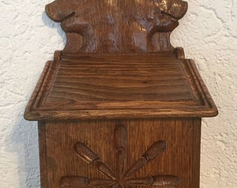 Vintage Antique French Country Farmhouse Wooden Pig FacesTall Back Canister