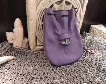 Dragon eye dice bag (Purple leather with Gold Eye)----New Style-----