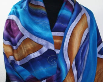 Purple Hand Painted Silk Scarf. Blue, Mustard Handmade Silk Shawl. Handmade Silk Wrap EVENING GLOW, in 2 SIZES. Gift-Wrapped