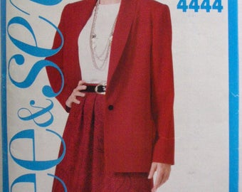 Women's See and Sew Sewing Pattern - Shawl Collar Jacket, Top and Skirt - Butterick 4444 - Size 16, Bust 38 - MISSING JACKET FACING