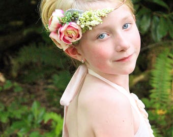 pink flower headband, Ready to ship, pink  tieback,halo headband,flower girl headband,bridal headband,flower crown