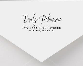 Personalized Return Address Stamp - Calligraphy Address Stamp, Self-Inking Return Address Stamp, Wood Address Stamp, Custom Stamp Style No.1