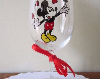Painted Wine Glass Mickey Mouse with a Rose and Hearts 12 oz.