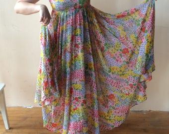 1960's Sun Dress, Technicolor Floral Chiffon