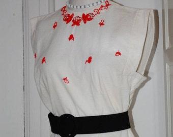 50s Blouse, Embellished, Beaded, Morlove, White Pique, Red Beading, Button Back, NWOT, Size Medium