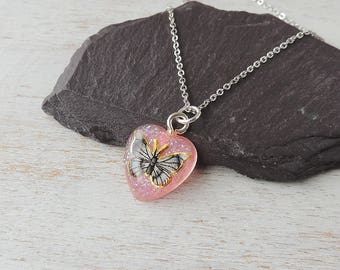Little Pink Butterfly Heart Necklace, Sparkly Glitter Resin Heart Pendant, Resin Jewellery, Butterfly Jewellery, UK, 663a