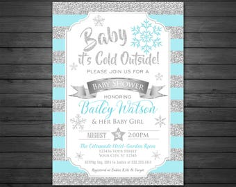 Winter Baby Shower Invitation, Digital, Baby it's Cold Outside, Snowflakes Invitation, Silver and Aqua Winter Baby Shower Invitation