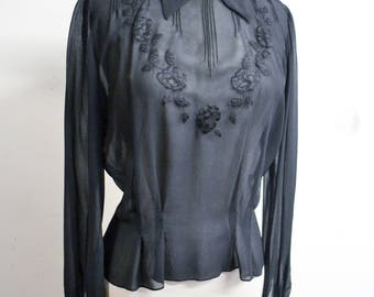 1940s Black sheer silk embroidered blouse / 30s 40s georgette evening shirt - M