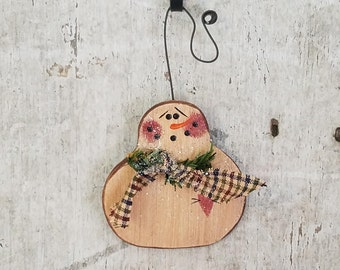 Hand Painted Wood Snowman Ornament, Primitive Snowman Ornament, Painted Snowman, Country Snowman, Primitive Christmas Decor, Wood Ornament