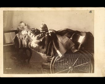 Amazing Post Mortem Photo - Dead Woman on Viewing Chair - Published in Beyond the Dark Veil