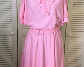 Vintage dress, pink polyester, lace jabot, fall, shirtwaist, back to school