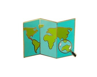 Travel Map Enamel Pin - World Map Pin