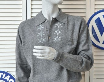 Vintage Mens 50s 60s Rockabilly Snowflake Ski Sweater Winter Gray Long Sleeve Soft Pullover med-L California Sweater Corp Lambswool Silk IOB