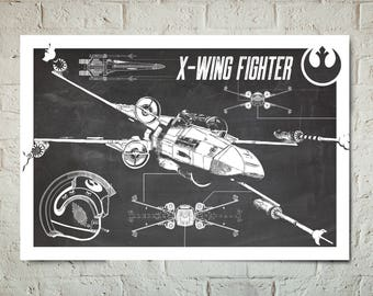 X-Wing Fighter - Star Wars Art - Patent Print, Star Wars Poster, Art Print, Star Wars Patent Art, Fan Art, Star Wars Gift, Industrial decor