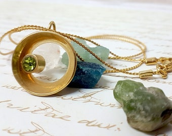 Women' Gift, Peridot Jewelry, Peridot Swarovski Crystal Necklace, Green Necklace, Gold Necklace, Peridot Circle Necklace, Peridot Gemstone