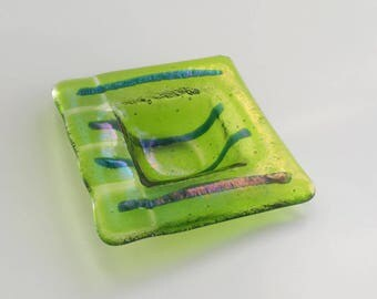 New! Lime Green Fused Glass Dish - Chartreuse Ring Dish with Iridized Stripes - Fused Glass Trinket Dish - Stocking Stuffer - Secretary Gift