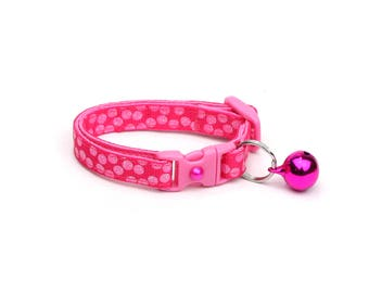 Polka Dot Cat Collar - Pink Dots on Bright Pink - Breakaway Cat Collar - Kitten or Large size