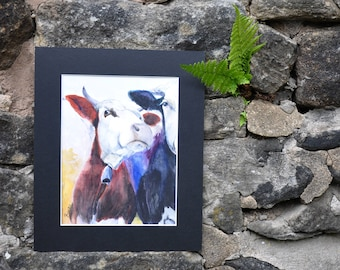 Funky cow -  Original Watercolor Painting, painted by C.Raven - 4x6inches MOUNTED to fit 8x10inches frame opening