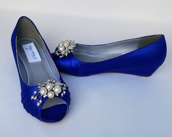 Blue Wedding Shoes with Crystal and Pearl Cascade Blue Bridal Shoes Blue Wedges Blue Bridesmaid Shoes  PICK YOUR COLOR  100 Choices