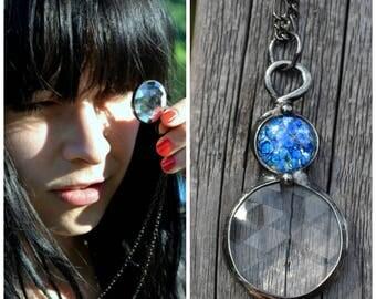 Kaleidoscope Jewelry, Handmade Jewelry, Unique Necklaces, Kaleidoscope Antique, Handmade Necklaces, Long Necklace with Pendant (2769)