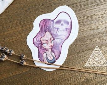 Ghost Girl Pastel Goth Sticker, Laptop Sticker, Water Bottle Sticker, Skull Sticker, Purple Sticker, Pastel Sticker, Cool Sticker, Stickers