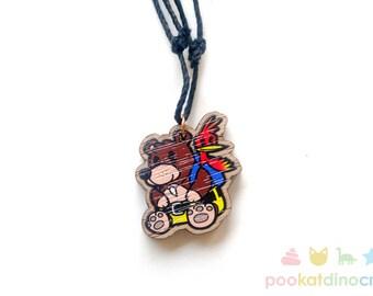 Lil Bear 'n' Bird Charm Necklace