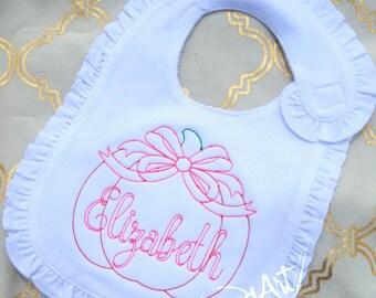 Pumpkin Bow Monogram Ruffle Bib or Burp Cloth in White or Pink Infant Baby Girl Velcro Vintage Stitch Halloween Thanksgiving Fall Autumn
