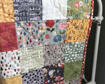 Baby Girl Quilt, Patchwork Crib Bedding, Patchwork Blanket, Toddler Bed Quilt, Mon Ami Fabric, Flower Quilt