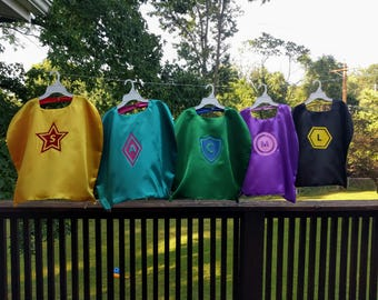Reversible Children's Superhero Capes - Pick Your Own Emblem and Letter/Number - Lots of Colors to Choose From
