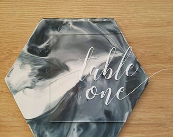 Clear Acrylic Perspex Wedding Table Number Signs, Wedding Guest Table Numbers, Bridal Table Numbers