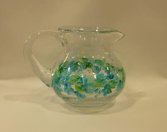 Hand Painted Glass Pitcher Creamer Vase Turquoise Blue White Daisies Hydrangeas Flowers Shabby Chic