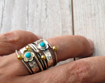 Stacking Ring Set, Bohemian Sterling Silver and Turquoise Stacking Ring, HandMade Hammered Boho Ring, Gold and Silver Ring, Trending Jewelry