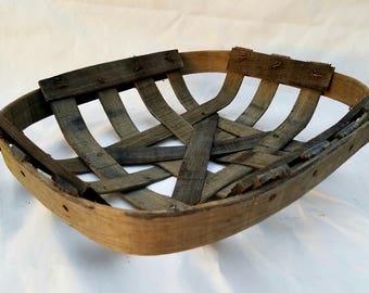 NC Tobacco Basket Original Style Nailed Split Oak Wood