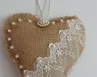 Burlap and Lace Heart With Pearls