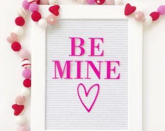 Be Mine Valentines Garland, Bunting, Banner - Felt Hearts, Swirl & Polka Dot Felt Balls - 50 Shapes Total