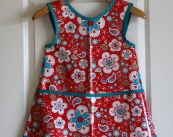Criss Cross Back Long Girls Art Smock Art Apron in Red and Teal Paisley Flowers