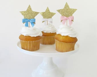 Star Cupcake Toppers - Twinkle Twinkle Little Start First Birthday - Baby Shower Toppers - Star Topper - Gender Reveal Party Decor