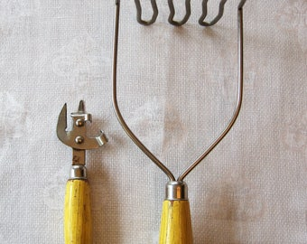 Vintage Kitchen Utensils ~ Yellow and Green Wood Handles ~  Can Opener  Masher Ekco A&J