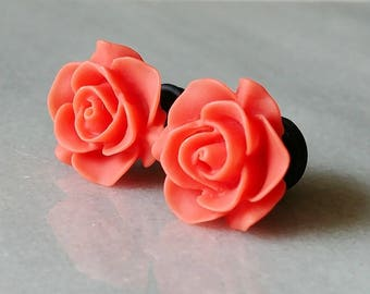 Coral Rose Plugs for Gauged Ears Sizes 3/4 Inch, 5/8 Inch, 9/16 Inch, 1/2 Inch, 00g, 0G, 2G, 4G , 6G