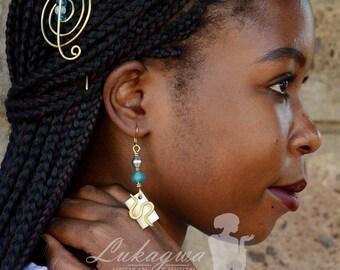 Blue African Jewelry Set,Blue Hairclip&Drop Earrings,Blue Beaded Layered bracelet and Drop earrings