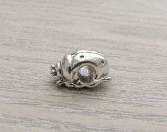 3-D, Silver Plated Pewter, Large Hole,  Ladybug Charm / Bead, Qty.1