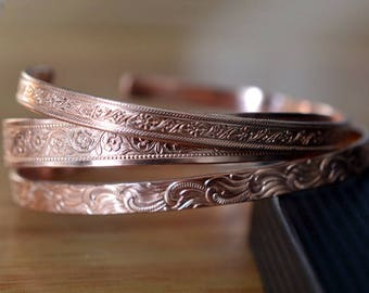 Copper Cuff Bracelets Set of 3, Floral Patterned Pure Copper Jewelry, Hippie Boho Adjustable Bangle Set