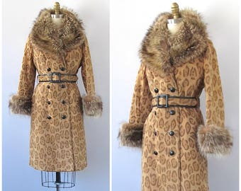 SPOT ON Vintage 70s Coat | 1970s Leopard Print Suede Coat with Racoon Fur Collar By Ni-Nel | LeatherAnimal Print Trench | Glam Disco | Small